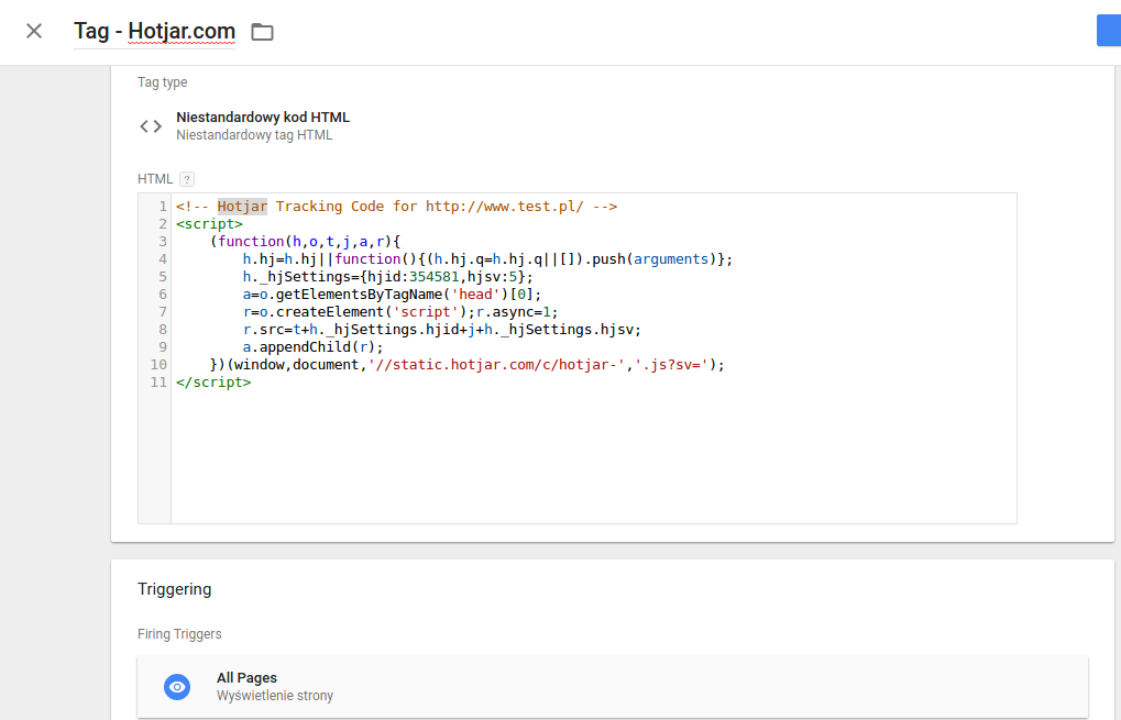 Google Tag Manager - Implementacja tagu Hotjar.com
