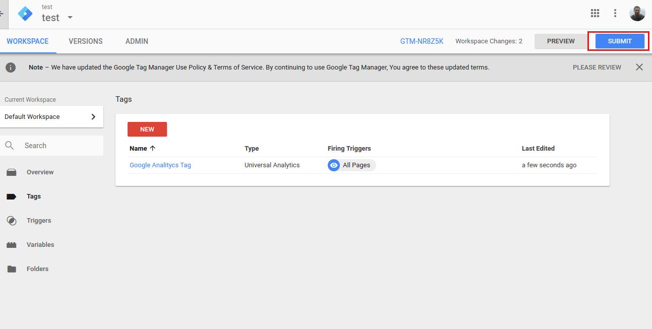 Google Tag Manager - Publikowanie zmian