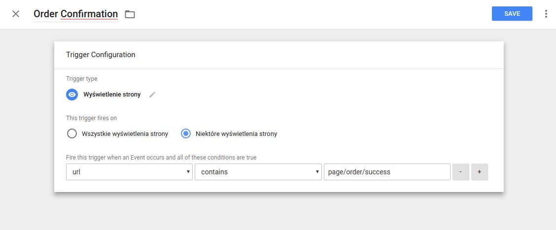 Google Tag Manager - Konfiguracja trigerów, potwierdzenie zamówienia